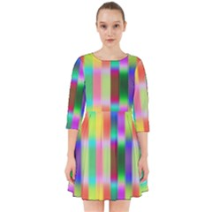 Multicolored Irritation Stripes Smock Dress by designworld65