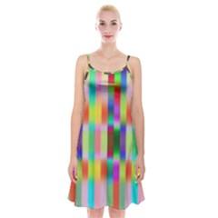 Multicolored Irritation Stripes Spaghetti Strap Velvet Dress by designworld65