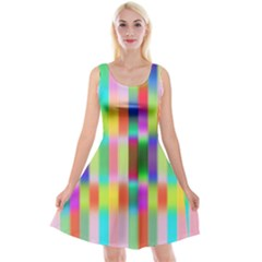 Multicolored Irritation Stripes Reversible Velvet Sleeveless Dress by designworld65