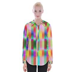 Multicolored Irritation Stripes Womens Long Sleeve Shirt by designworld65