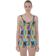 Multicolored Irritation Stripes Tie Front Two Piece Tankini by designworld65