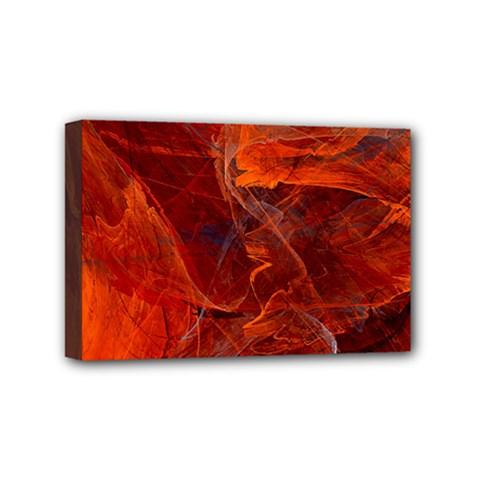 Swirly Love In Deep Red Mini Canvas 6  X 4  by designworld65