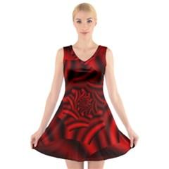 Metallic Red Rose V Neck Sleeveless Skater Dress by designworld65