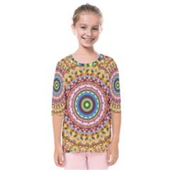 Peaceful Mandala Kids  Quarter Sleeve Raglan Tee by designworld65