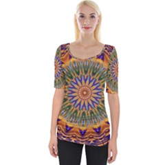 Powerful Mandala Wide Neckline Tee by designworld65