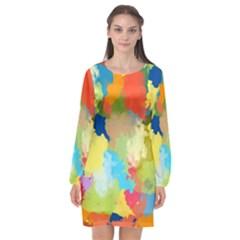 Summer Feeling Splash Long Sleeve Chiffon Shift Dress  by designworld65
