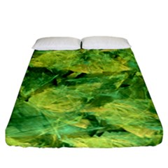 Green Springtime Leafs Fitted Sheet (california King Size) by designworld65