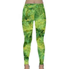 Green Springtime Leafs Classic Yoga Leggings by designworld65