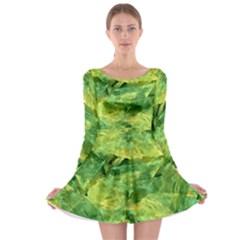 Green Springtime Leafs Long Sleeve Skater Dress by designworld65