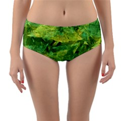 Green Springtime Leafs Reversible Mid Waist Bikini Bottoms by designworld65