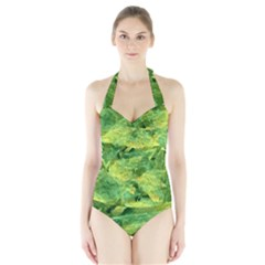 Green Springtime Leafs Halter Swimsuit by designworld65