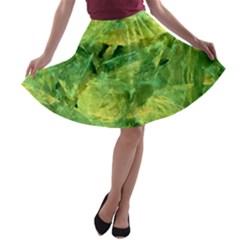Green Springtime Leafs A Line Skater Skirt by designworld65