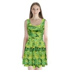Green Springtime Leafs Split Back Mini Dress  by designworld65