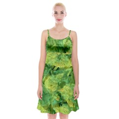 Green Springtime Leafs Spaghetti Strap Velvet Dress by designworld65
