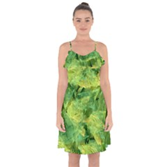 Green Springtime Leafs Ruffle Detail Chiffon Dress by designworld65