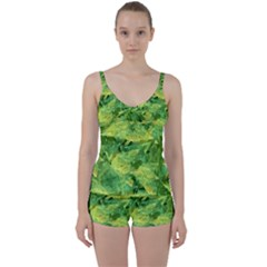 Green Springtime Leafs Tie Front Two Piece Tankini by designworld65