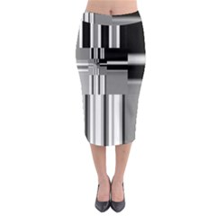 Black And White Endless Window Midi Pencil Skirt by designworld65