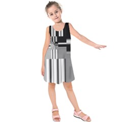 Black And White Endless Window Kids  Sleeveless Dress by designworld65