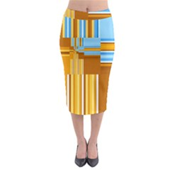 Endless Window Blue Gold Midi Pencil Skirt by designworld65