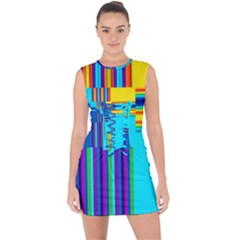 Colorful Endless Window Lace Up Front Bodycon Dress by designworld65