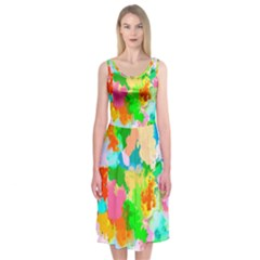 Colorful Summer Splash Midi Sleeveless Dress by designworld65