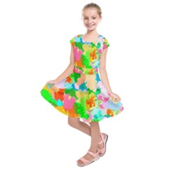 Colorful Summer Splash Kids  Short Sleeve Dress by designworld65