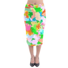 Colorful Summer Splash Velvet Midi Pencil Skirt by designworld65