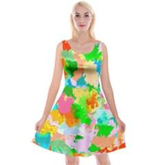 Colorful Summer Splash Reversible Velvet Sleeveless Dress by designworld65