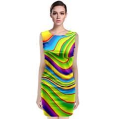 Summer Wave Colors Sleeveless Velvet Midi Dress by designworld65