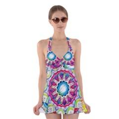 Sunshine Feeling Mandala Halter Swimsuit Dress by designworld65