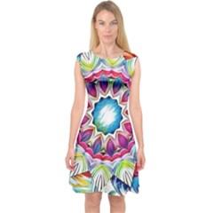 Sunshine Feeling Mandala Capsleeve Midi Dress by designworld65