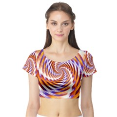 Woven Colorful Waves Short Sleeve Crop Top (tight Fit) by designworld65