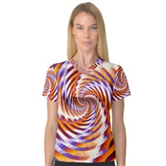 Woven Colorful Waves V Neck Sport Mesh Tee by designworld65