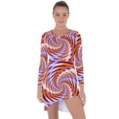 Woven Colorful Waves Asymmetric Cut Out Shift Dress by designworld65