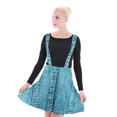 Denim Jeans Fabric Texture Suspender Skater Skirt by paulaoliveiradesign
