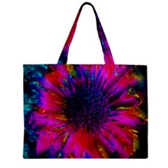 Flowers With Color Kick 3 Zipper Mini Tote Bag by MoreColorsinLife