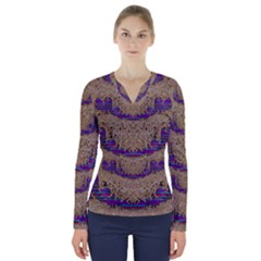 Pearl Lace And Smiles In Peacock Style V Neck Long Sleeve Top by pepitasart