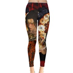 Steampunk, Beautiful Steampunk Lady With Clocks And Gears Leggings  by FantasyWorld7