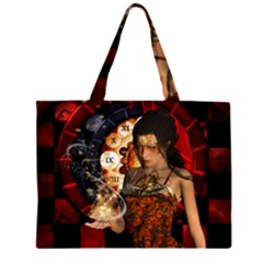 Steampunk, Beautiful Steampunk Lady With Clocks And Gears Zipper Large Tote Bag by FantasyWorld7