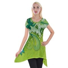 Green Vector Leafs Short Sleeve Side Drop Tunic by amphoto
