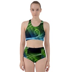 Abstract Blue Green Shiny  Bikini Swimsuit Spa Swimsuit