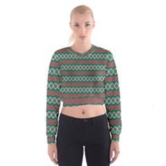 Ethnic Geometric Pattern Cropped Sweatshirt by linceazul