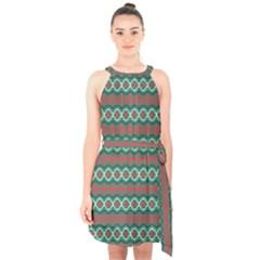 Ethnic Geometric Pattern Halter Collar Waist Tie Chiffon Dress by linceazul