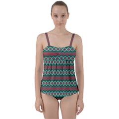Ethnic Geometric Pattern Twist Front Tankini Set