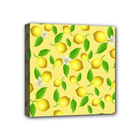 Lemon Pattern Mini Canvas 4  X 4  by Valentinaart