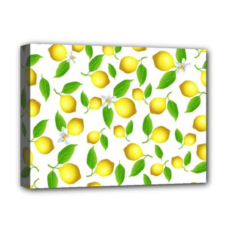 Lemon Pattern Deluxe Canvas 16  X 12   by Valentinaart