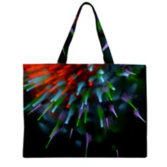 Explosion Rays Fractal Colorful Fibers Zipper Mini Tote Bag by amphoto