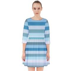 Texture Stripes Horizontal Blue Gray Smock Dress