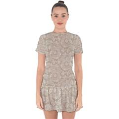 Floral Pattern Drop Hem Mini Chiffon Dress