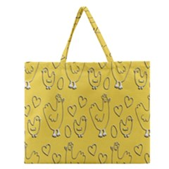 Chicken Chick Pattern Wallpaper Zipper Large Tote Bag by Nexatart